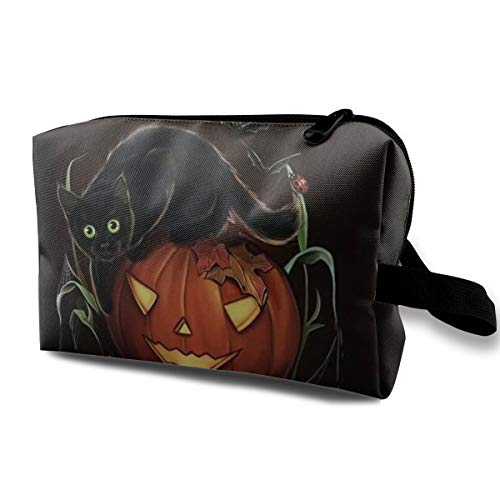 JimHappy Toiletry Jewelry Bag Halloween Pumpkin Lantern and Black Cat Lightweight Fashion Organizer Portable
