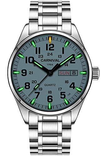 Swiss Brand Analog Quartz Watch Outdoor Military Tritium Gas Super Bright Self Luminous Blue Or Green (Silver Green Light) ()