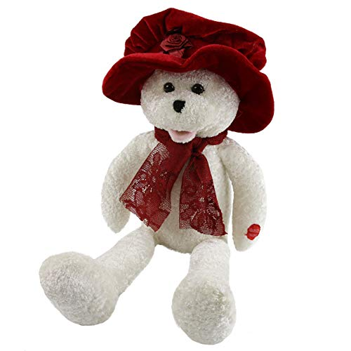 Houwsbaby Musical Teddy Bear with a Red Velvet Hat and Lace Scarf Sings