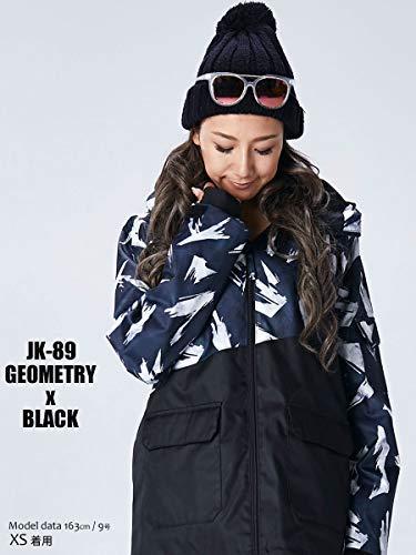 スノーボード ウェア レディース ジャケット ジオメトリーxブラック 4サイズ(S~XL) スノボウェア レディース ジュニア対応 18-19 le-Rhythm リアリズム アシンメトリー 上 2JK89 [JK-89]ジオメトリーxブラック XS (レディースM)
