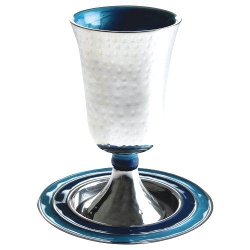 Modern Kiddush Cup and Plate, Hammered Design With Enamel, Blue