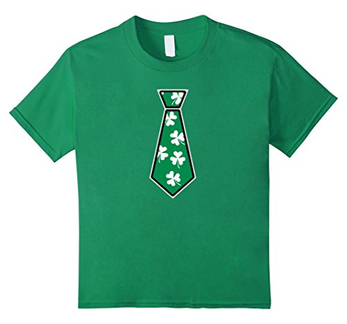[Kids Saint Patrick's Day Tie Costume T Shirt with Clovers 12 Kelly Green] (St Patrick Saint Costume)