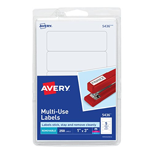Avery removable print write labels 1 x 3 inches white for Avery template 5418