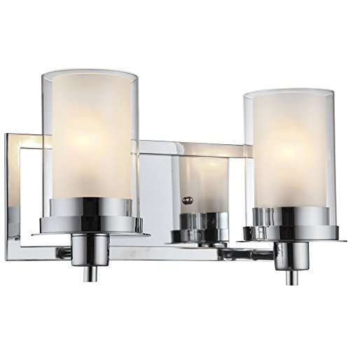 Designers Impressions Juno Polished Chrome 2 Light Wall Sconce/Bathroom Fixture with Clear and Frosted Glass: 73468 (Sconce Double Transitional Wall)