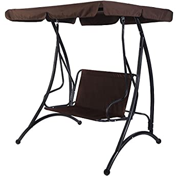 Tangkula 2 Person Canopy Swing Chair Patio Hammock Seat Cushioned Furniture Steel (Brown)
