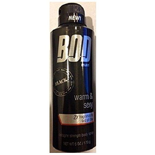 BOD Man, BLACK, warm & sexy, 2X fragrance to last all day Body Spray, 6 OZ