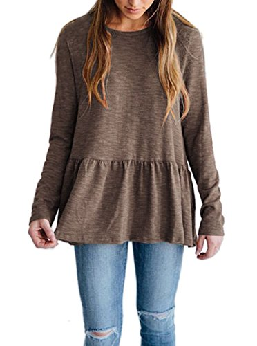 Voghtic Women's Casual Long Sleeve Scoop Neck Babydoll Blouse Peplum Tops Back Button Design T Shirt Coffee ()