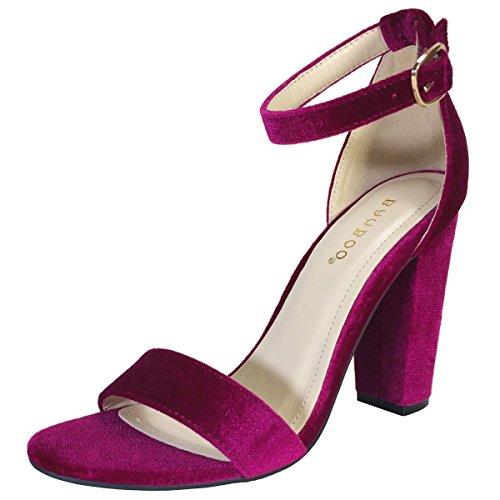 BAMBOO Women's Single Band Chunky Heel Sandal With Ankle Strap, Fuchsia Velour, 7.0 B - Rhinestone Velour