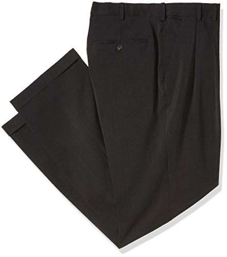 Pleated Walking Shorts - Van Heusen Men's Big and Tall Traveler Stretch Pleated Dress Pant, Charcoal, 44W x 34L