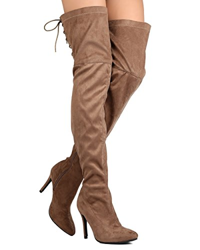 Verwen Gloria-01 Vrouwen Faux Suède Dij Hoge Puntige Teen Hind Lace Up Stiletto Laars Taupe