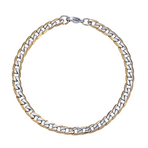 Stainless Steel Gold Tone Cuban Curb Classic Link Chain Bracelet Jewelry for Women Men