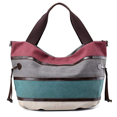 KISS GOLD(TM) Multi-color Canvas Hobo Bag Handbags Shoulder Bag Casual Tote Top Handle Bag for Women, Multi-Color-Burgundy