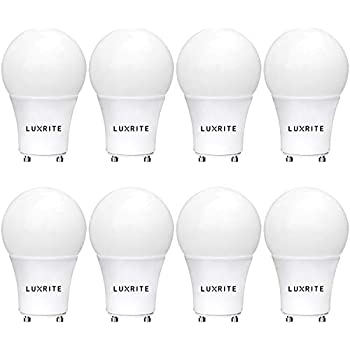 Luxrite GU24 LED A19 Light Bulb, 60W Equivalent, 4000K Cool White, Dimmable, 800 Lumens, LED GU24 Bulb, 9W, Enclosed Fixture Rated, UL Listed, ...