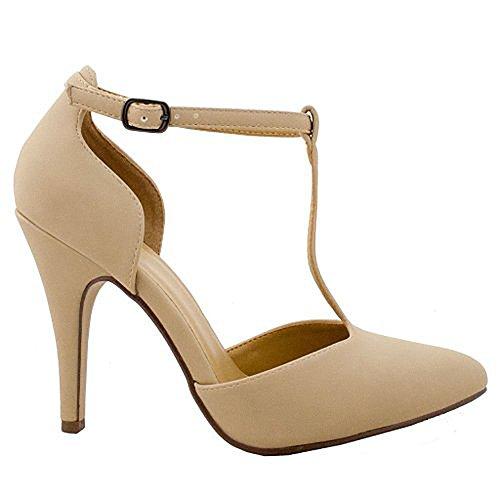 Kolette oat Delicious nubuck Leather Nubuck T Faux Sole Women's High Toe Pointy Single Heels Strap 4qOaqHxw