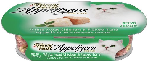 Fancy Feast Appetizers for Cats, White Meat Chicken and  Flaked Tuna, 2-Ounce Tubs (Pack of 10), My Pet Supplies