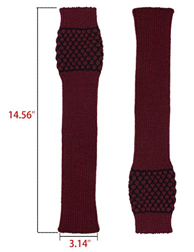 Dahlia Women's Honeycomb Pattern Acrylic Fingerless Arm Warmer Gloves - Red by Dahlia (Image #4)
