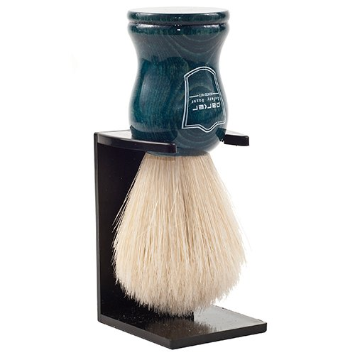 (Parker Safety Razor Handmade 100% Deluxe Boar Bristle Shaving Brush - - Blue Wood Handle - Brush Stand Included)