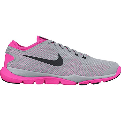 Nike Flex Supreme TR4 Wolf Grey/Pink Blast/White/Black Womens Cross Training Shoes, Gris, 43 B(M) EU/8.5 B(M) UK