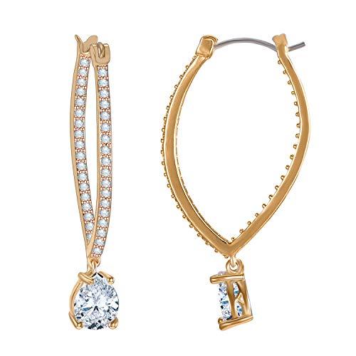 (LILIE&WHITE Cubic Zircon Teardrop Gold Hoop Earrings for Women Heart Shape Wedding Earrings Cubic Zirconia)