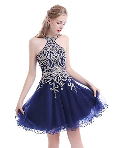 eedcd51b257c Home/Homecoming Dresses/Aurora Bridal Women's Halter Beaded Homecoming  Dresses 2018 Short Tulle Prom Gown Size 6 Black. ; 