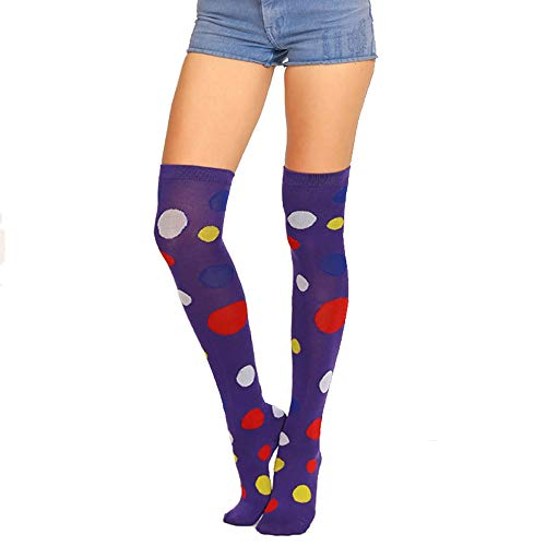Womens Girls Long Over Knee Thigh High Socks Crazy Fun Colorful Vibrant Polka Dot Costume Clown Cosplay Party Stocking Gift