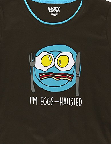 LazyOne Womens I'm Eggs-Hausted Fitted PJ T Shirt