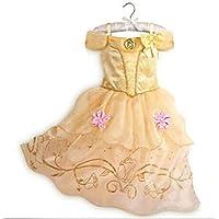 DaHeng Girls Layered Princess Belle Costume Cosplay Dress (Yellow,6-7Years)