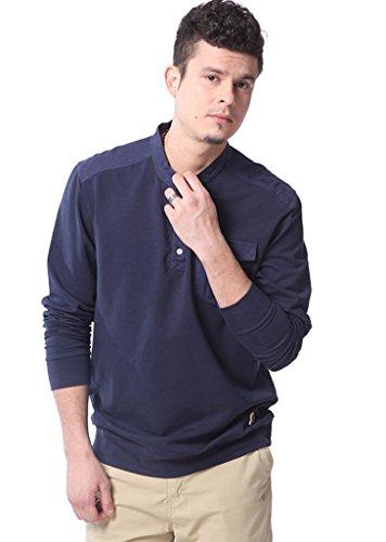 IKRR Men's T-Shirt Vintage Basic Cotton Tee Casual Workwear Long-Sleeve Shirts for Men