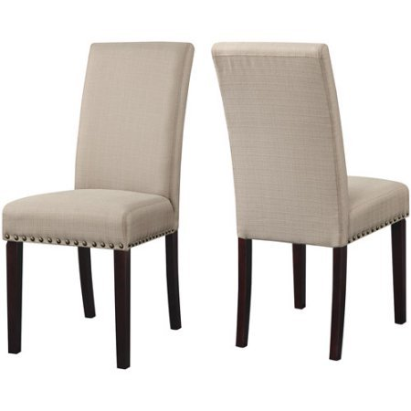 DHI Nice Nail Head Upholstered Dining Chair, Set of 2, Multiple Colors Wheat