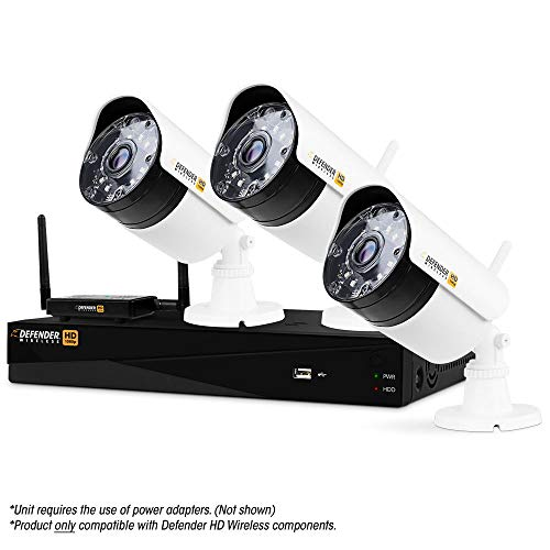 Defender Wireless HD 1080P 4 Channel 1TB DVR Security System with Smart Adaptive Wireless Technology and 3 Long Range Night Vision Bullet Cameras