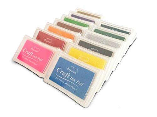 Lsunshine Craft Ink Pad Stamps Partner Diy Color,15 Color Craft Ink Pad for Stamps, Paper, Wood Fabric (pack of 15)