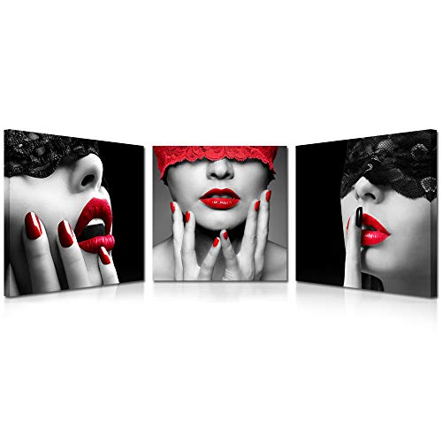 Kreative Arts 3 Piece Sexy Lips Prints Painting Morden Canvas Art Home Decoration Picture Wall Pictures for Living Room Black Red Framed Ready to Hang (16x16inchx3pcs) (Red Lips Art Poster)