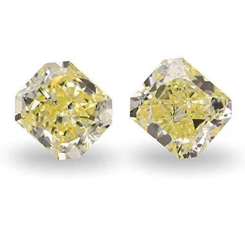 8.12 Carat Fancy Yellow Loose Diamond Natural Color Radiant Cut Pair GIA Cert