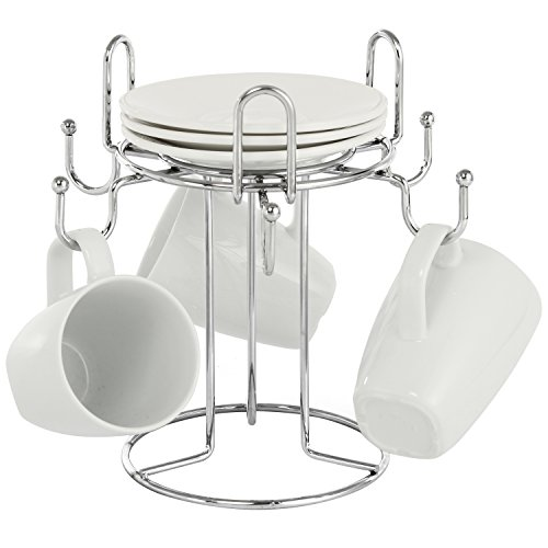 6 Hooks Chrome-Plated Metal Countertop Coffee and Tea Mug & Saucer Holder Rack