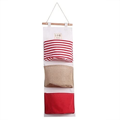 Fdit Hängende Aufbewahrungstasche 3 Schicht Leinenwand Tür Schrank Aufbewahrungstasche Kleiderschrank Hängetasche Organizer für Zimmer Badezimmer(Rot)