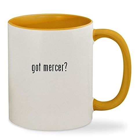 got mercer? - 11oz Colored Inside & Handle Sturdy Ceramic Coffee Cup Mug, Golden Yellow (Gold Mercer Watch)