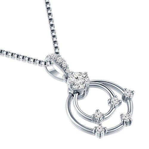 18ct 750Or blanc double cercle Anneaux Pendentif avec diamant en argent sterling 925Chaîne de 40,6cm/40cm (0.24CT, G-H Couleur, Vs1-si2Clarté) Femme Bijoux Cadeau