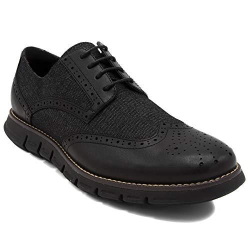 Nautica Men's Wingdeck Oxford Shoe Fashion Sneaker-Black - Denim Sneakers