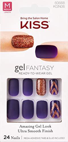 **NEW** Kiss Nails GEL FANTASY KGN06 (TO THE MAX) Medium Design Nails w/Adhesive Tabs & Glue
