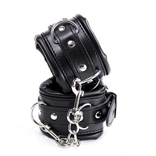 Metrical Soft Padded Leather Handcuffs witn Chain Adjustable Wrist Cuffs/Ankle Cuffs, Black (Wrist - Padded Cuffs Hand Leather
