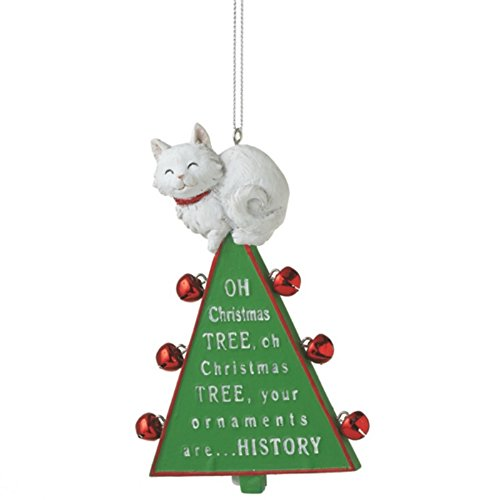 amazoncom oh christmas tree cat resin christmas ornament home kitchen - Cat Christmas Decorations
