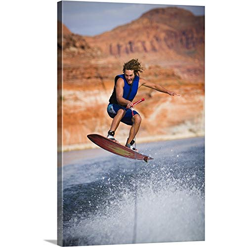 GREATBIGCANVAS Gallery-Wrapped Canvas Entitled Man Wakeboarding by 16