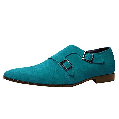 Itailor Handgemaakte Handgemaakte Schoenen: Cyaan Suède Lederen Schoenen Met Cyaan Suèdeleren Dubbele Monniksriem