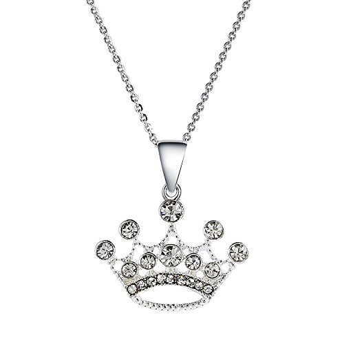 - Vinjewelry Princess Crown Pendant Charm Necklace 18