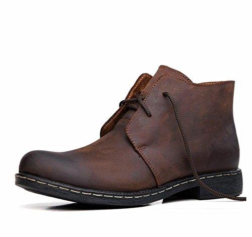 Hombres Martín Tobillo Botas Al aire libre Cuero Zapatos Ocio Moda británico Otoño Invierno Más Cachemira Mantener Calentar Cordón Negro marrón Antideslizante Brown