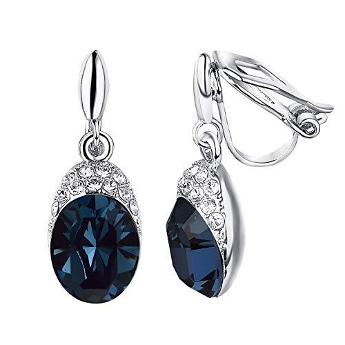 Yoursfs Clip on Earrings For Women wedding Birdal 18K Rose/White Gold Plated Non Pierced Ears (Blue Clip Earrings) ()