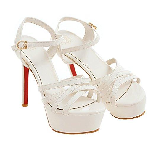 52739eb276b5 YE Damen Lackleder Offene Stiletto High Heels Plateau Sandalen mit Riemchen  Pumps Schuhe Weiß ...