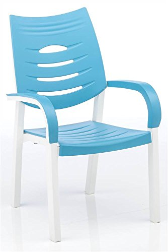 KETTLER Stack Chair in White and Turquoise - Set of 4