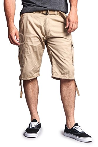 (G-Style USA Men's Ripstop Belted Cargo Shorts 9AP30 - Solid Khaki - 32 - S7B)
