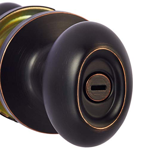 AmazonBasics Privacy Door Knob With Lock, Oval Egg, Oil Rubbed Bronze